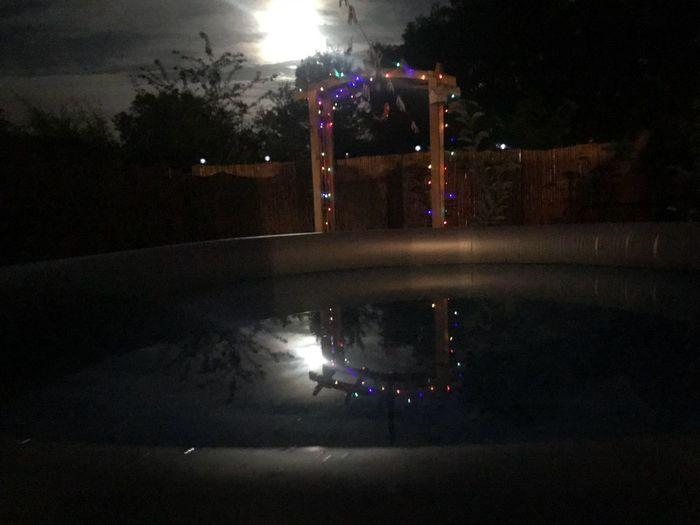 Moon Night Illuminated Street City Nature Water Reflection