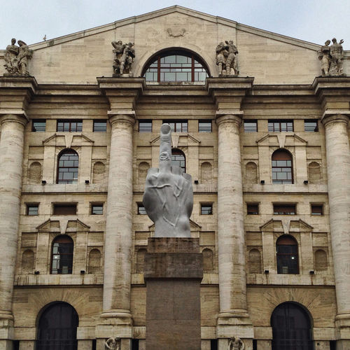 Contemporary Art Façade Love Sulpture Businness Cattelan Finger Hand Piazza Affari Stock Exchange