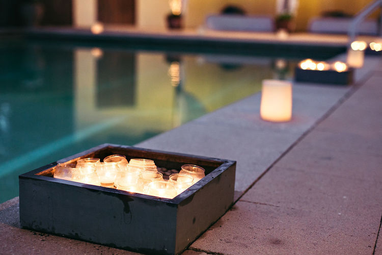Candles Night Pool