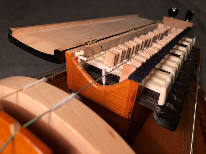 An open keybox showing the tangents of a keyboard on a lute-shaped French hurdy-gurdy, otherwise (and more correctly) known as la vielle à roue in France. String Instrument Musical Instrument String Technology Indoors  No People Wood - Material Musical Instrument Music Hurdy-gurdy Hurdygurdy Hurdy Gurdy Keybox Tangent Tangents Les Sauteraux Vielle à Roue
