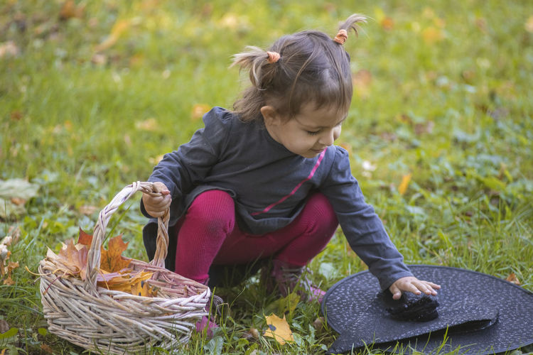 Full length of girl with basket in grass