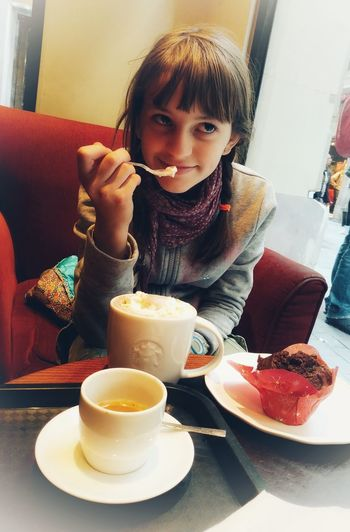 Hot Chocolate Coffee Muffin Starbucks Coffee Barcelona Child Drink Portrait Table Healthy Lifestyle Front View Sitting