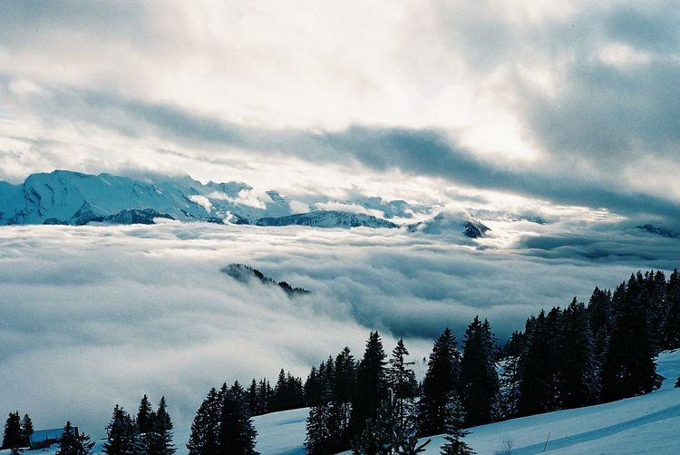 Valley filled with clouds in wintertime