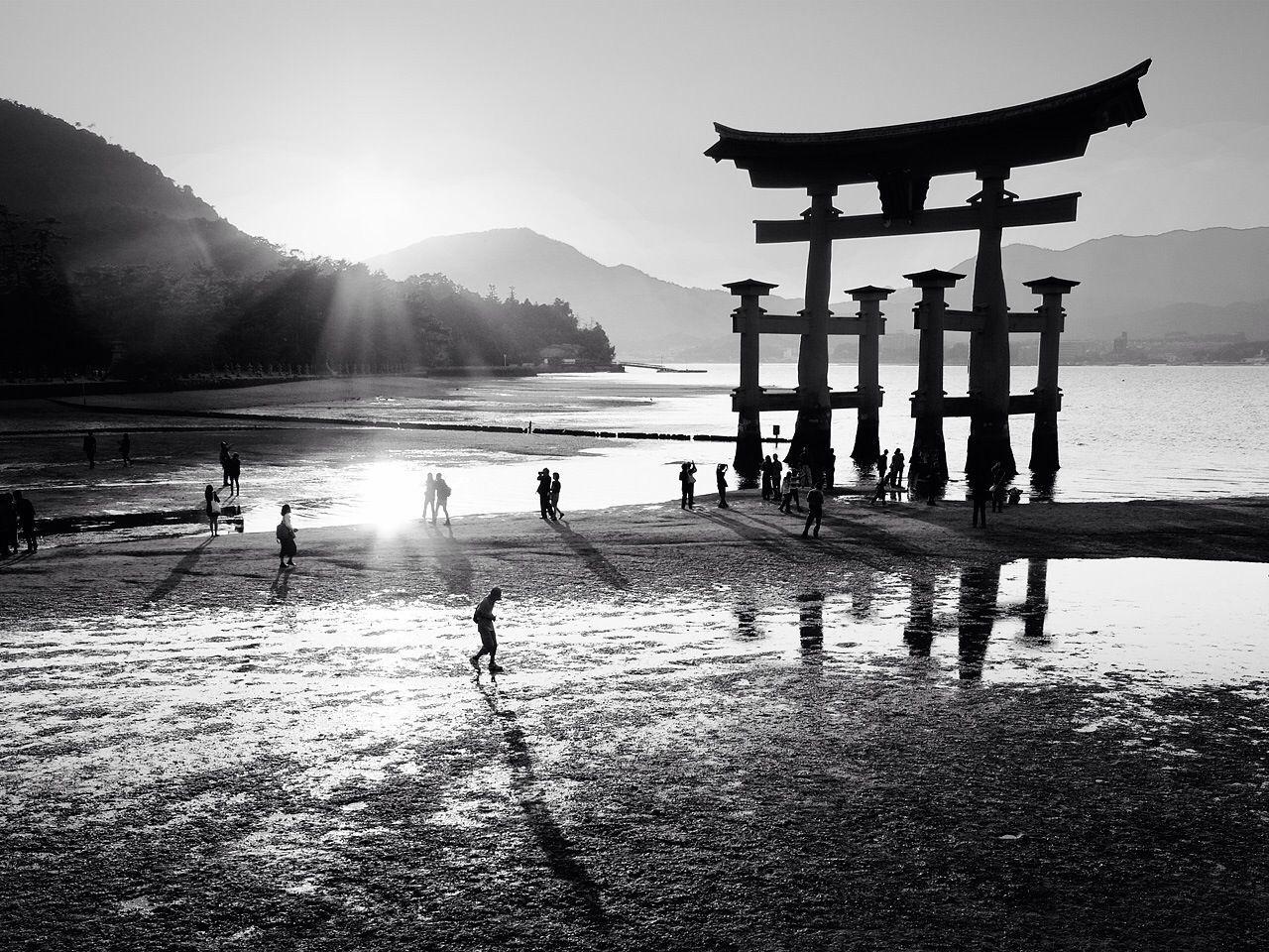 Silhouette column structure at beach
