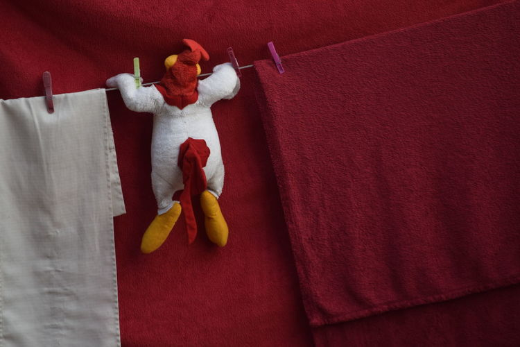 Stuffed Toy Hanging On Clothesline Against Red Textile