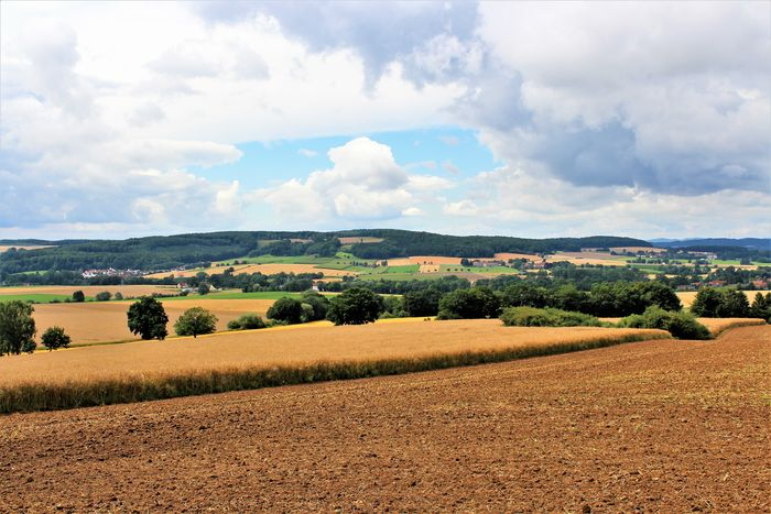 An image of a country side - germany Agriculture Field Land Nature Trees Beatyful Clouds Fields Germany Hill Landscape Landscape_photography Outdoor Outdoors Sky