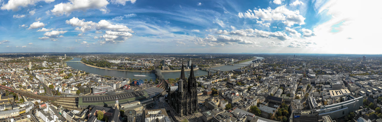 aerial view of Cologne and river Rhine Architecture City Aerial View Cityscape Water Skyscraper Cathedral Clouds And Sky River View Drone Photography