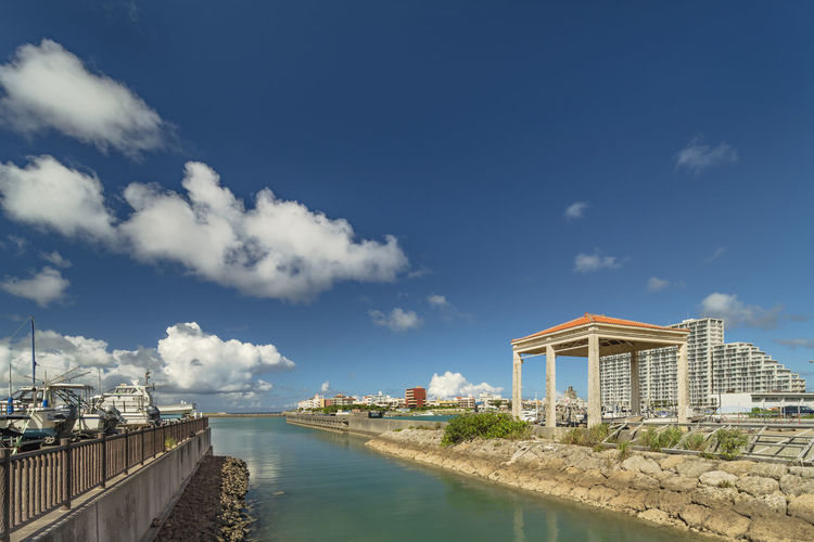 Hamakawa fishing port and fisherina district in the vicinity of the american village in okinawa.
