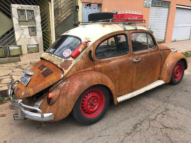 Style Iron - Metal Fusca Old-fashioned Old No People Transportation Damaged Stationary Mode Of Transport Red Land Vehicle Tire Built Structure Day