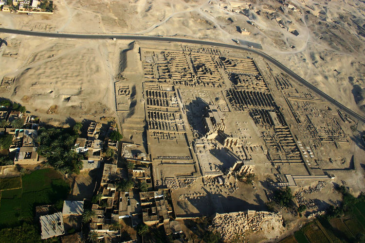 Ramesseum aerial west bank Luxor Ramesses II Ramesseum Aerial View Ancient Ancient Civilization Architecture Built Structure High Angle View History Old Ruin Outdoors Spirituality Temple Travel Destinations
