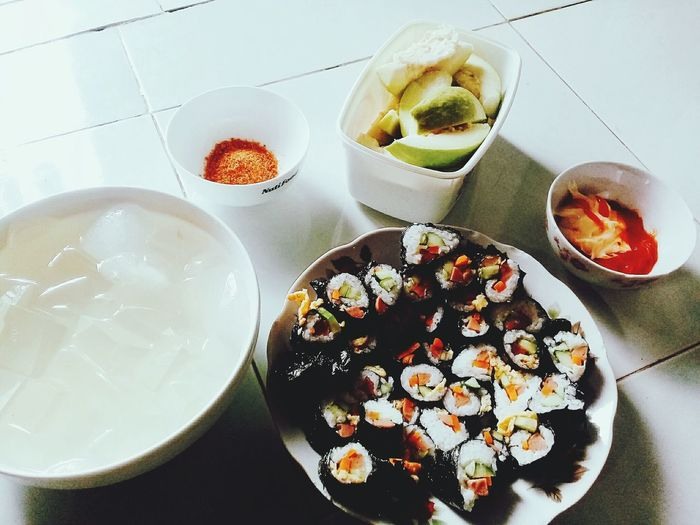 Do you want to eat 😄😅😂 Kimbap ^^ Sweet Food Food Food And Drink Freshness Homemade Happy Cloud - Sky Happy Time High Angle View Indoors  Dessert Plate Table Indulgence Bowl No People Ready-to-eat Fruit Day Love