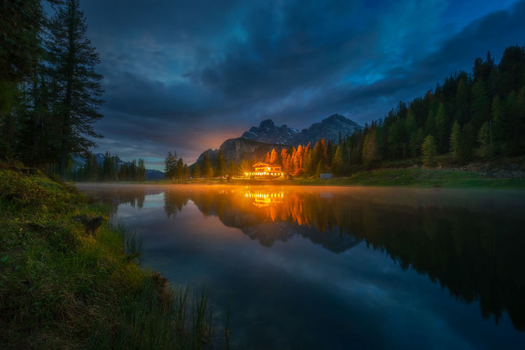 Antorno lake in Dolomiti Reflection Water Beauty In Nature Tranquility Scenics - Nature Tranquil Scene Lake Tree Cloud - Sky Nature Mountain Waterfront Reflection Lake No People Idyllic Sky Non-urban Scene