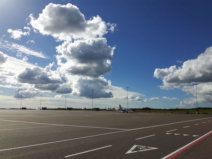 Road Marking Sky Cloud Blue Empty Road Airport Sweden Airportphotography Samsungphotography Working Airport Photography Showcase September Sky And Clouds Sky_collection Skylovers Outdoors The Sky Has No Limit... Tranquility No People