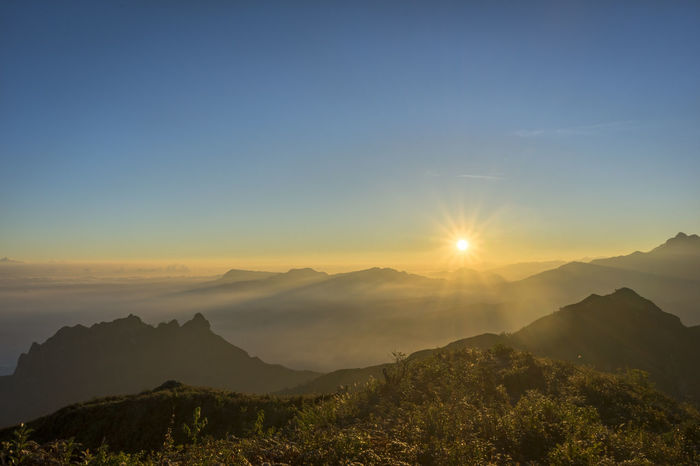 Sunrise at Ky Quan San, Vietnam Morning Sun Travel Beauty In Nature Blue Sky Fog Foggy Morning Landscape Mountain Nature Outdoors Rays Of The Sun Sky Sunrise Sunrise And Clouds