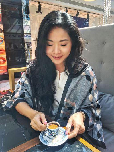 Arabia Abaya UAE Abudhabi Coffee - Drink Lifestyles Cafe Smiling Cheerful Turkishcoffee