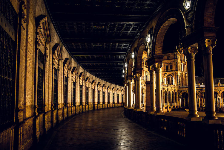 Illuminated corridor of building