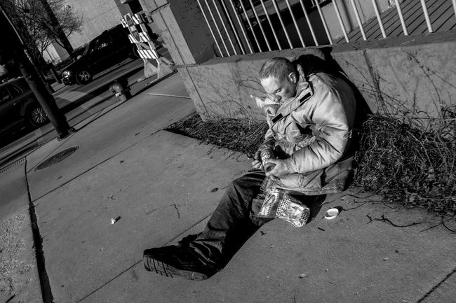 Homeless Man Street Photography Black And White FujiX100S