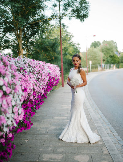 Bride standing by pink flowers against sky