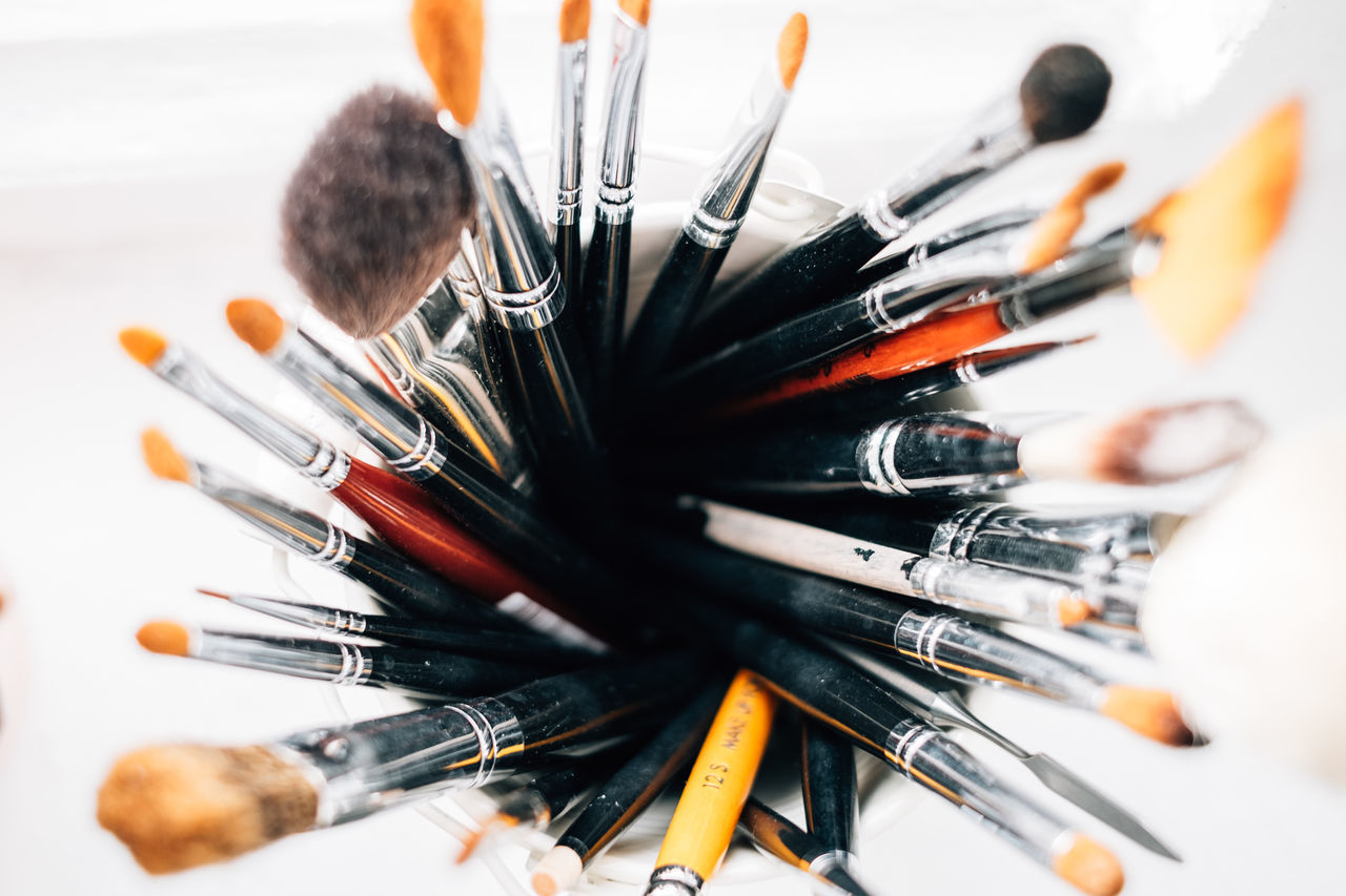 High Angle View Of Assorted Brushes