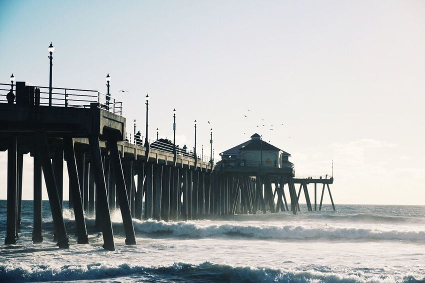 Waves keep moving, as well as life. Water Built Structure Sky Sea Architecture Nature Outdoors No People Day Pier Photography Wave Ocean White Blue EyeEm Best Shots Landscape