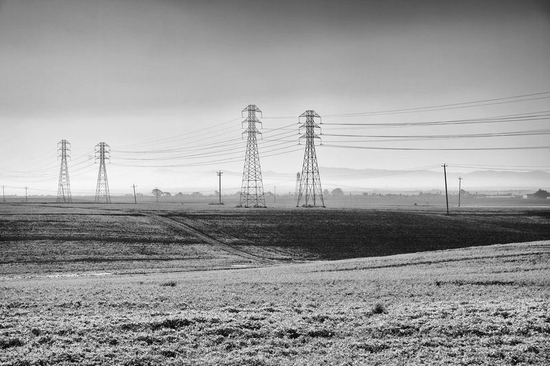 Cable Sky Electricity Pylon Electricity  Power Line  Michellerobertsonphotography Subaru Canon Canonphotography Canon5D Subaru Crosstrek Monterey Bay Farm Field Blackandwhite neart No People Field Technology Landscape Outdoors Day Electricity Tower Tree Nature