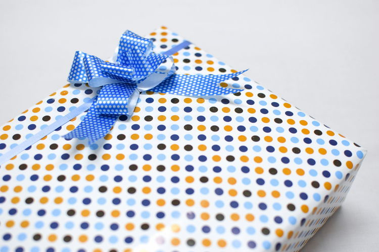 InMakin! Product Photography Polka Dot Gift Tied Bow Ribbon - Sewing Item No People Blue Wrapping Paper