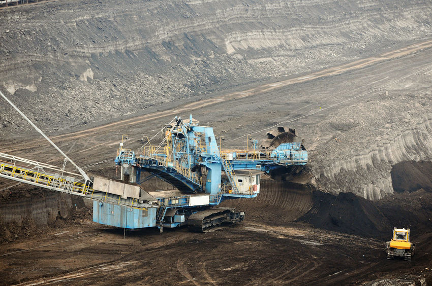 aerial view in coal mine with bucket wheel excavator. destruction of nature. fossil energy. Industry Mining High Angle View Fuel And Power Generation Coal Mine Quarry Coal Outdoors Transportation Tagebau Braunkohle Braunkohletagebau Fossil Energy Bucket Wheel Excavator Schaufelradbagger Machinery Construction Industry Fossil Fuel Commercial Land Vehicle Construction Machinery