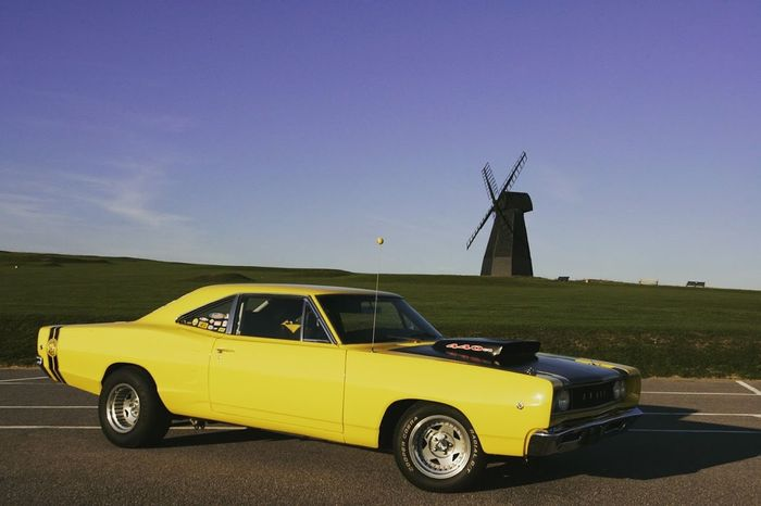 Ameican Car Day Mopar Gang Muscle Cars No People Outdoors Rural Scene Sky Superbee V8 Engine Windmill Yellow Black Sky Photos