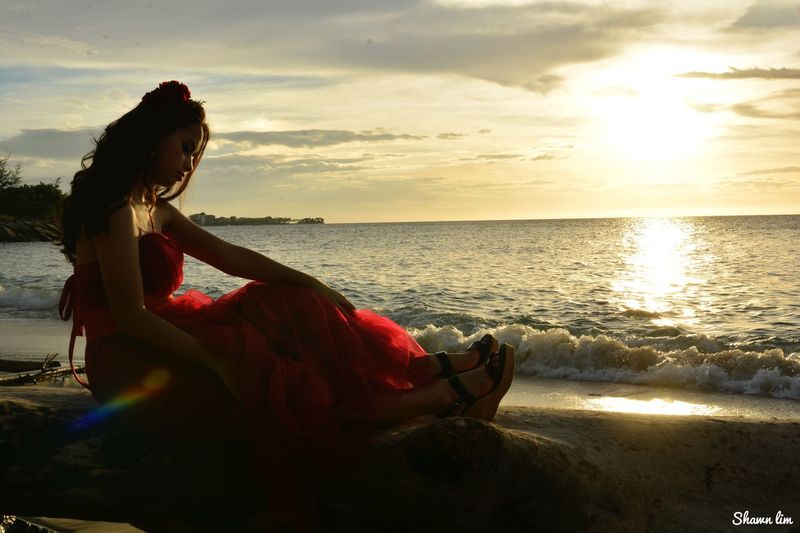 Sea One Person Water Sunset Sitting Beach Horizon Over Water Young Women Nature Outdoors Beauty In Nature
