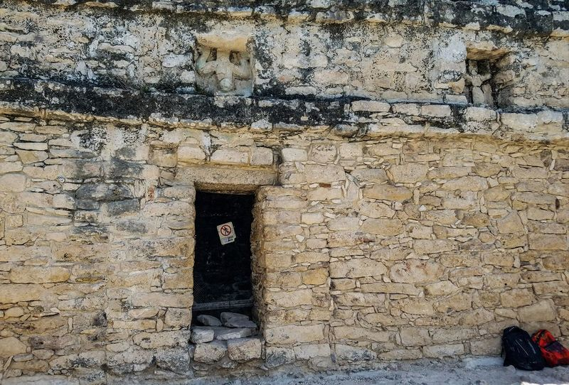 Day Full Frame No People Textured  Outdoors Backgrounds Nature Travel Destinations On Top Of A Temple Coba Mexico Springtime Spring May 2017 Travel Historic Rock Old Old Temple Statues Entrance Backpack Backbacking Blocked Path Architecture The Week On EyeEm