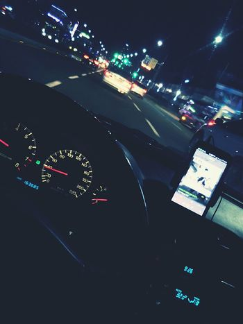 Driving :) Listening To Music Night Lights On The Road