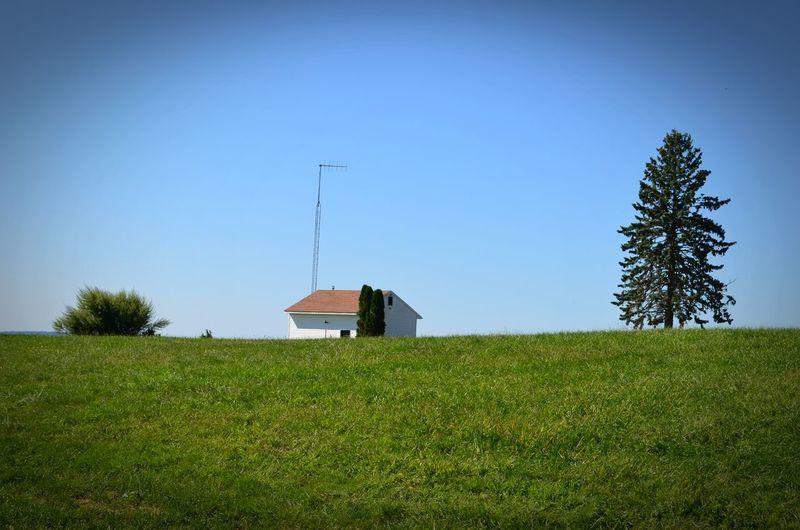 Built Structure Clear Sky Field Grass Grassy