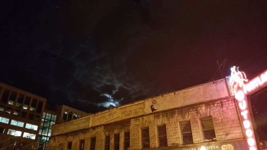 Old Portland Outdoor Store with moon and clouds above. Building Exterior Architecture Outdoors No People Lit Urban Nightsky Walking Around Taking Photos