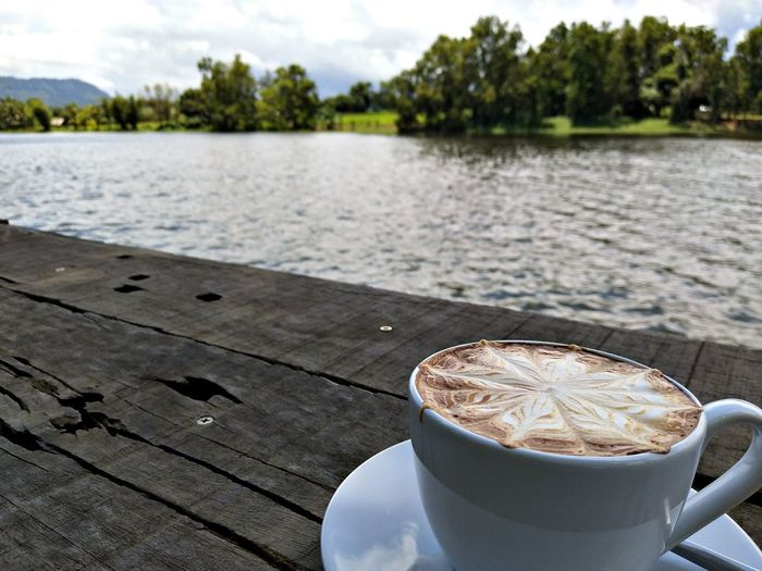 coffee and river Water Tree Drink Lake Latte Plate Coffee - Drink Table Sky