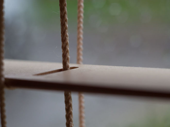 Close-up of rope on wood