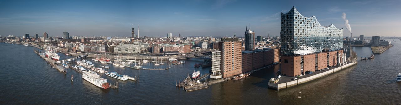 Panoramic view of buildings at waterfront