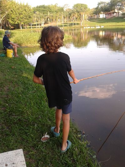 Beginner Fishing Learning To Fish Leisure Activity Tranquility The Essence Of Summer