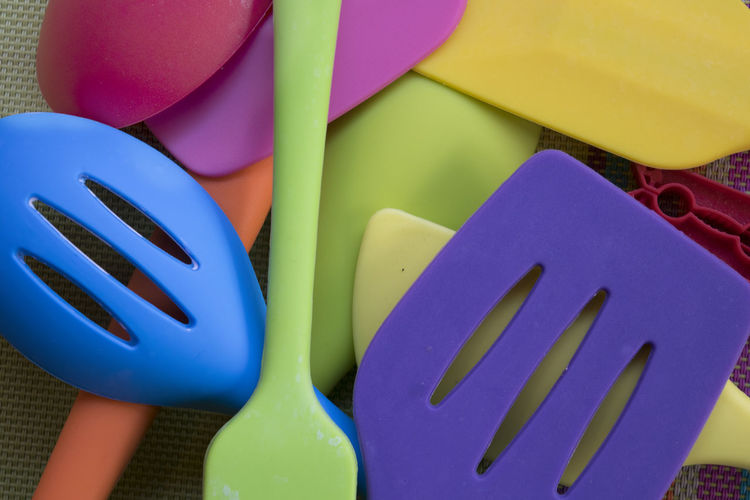 Close-up of colorful spoons