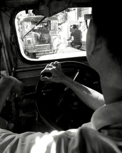 At Ease. Jeepney Pinoy Manila Philippines Transportation Drive Monochrome Blackandwhite Alcatelflash2 Mobigraphy Lenkacam Urban Jeepney Pinoy The Street Photographer - 2016 EyeEm Awards