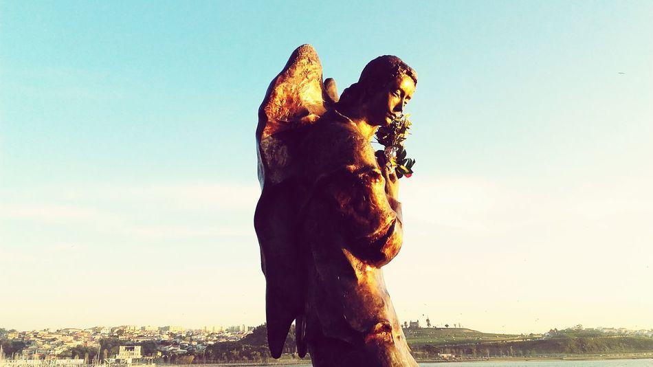 Sunlight Angel Statue Oporto, Portugal City Douro River, Sky Reflection Statue
