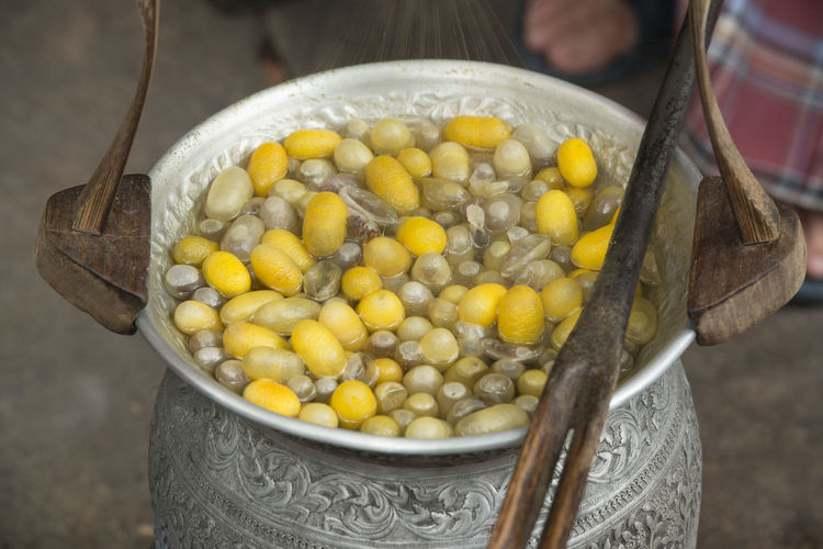 Close-up of silk cocoons in container