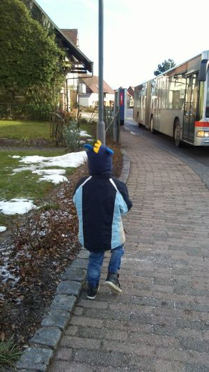 City Bus Rear View Walking Full Length Day Childhood Colour Your Horizn