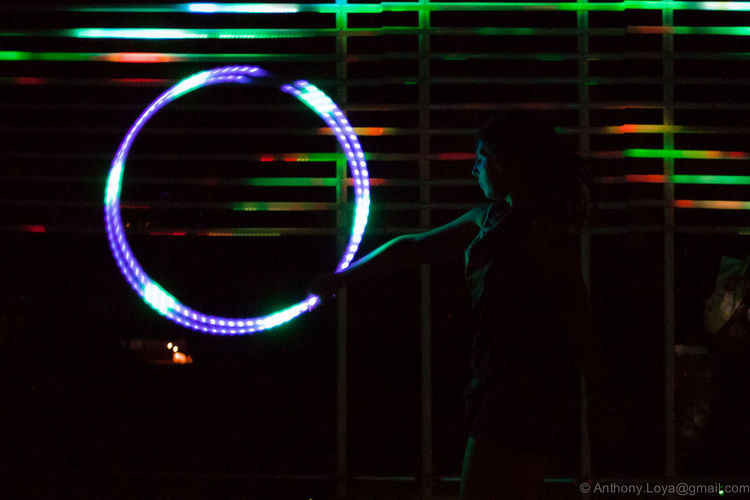 Multi Colored Night Illuminated Neon Joshuatreemusicfestival Summer Outdoors Flowartgirl Girlsports Girl Flowart Flowarts Neon Lights Lightuphoop Night Photography Hoop Arts Culture And Entertainment One Woman Only One Person One Young Woman Only