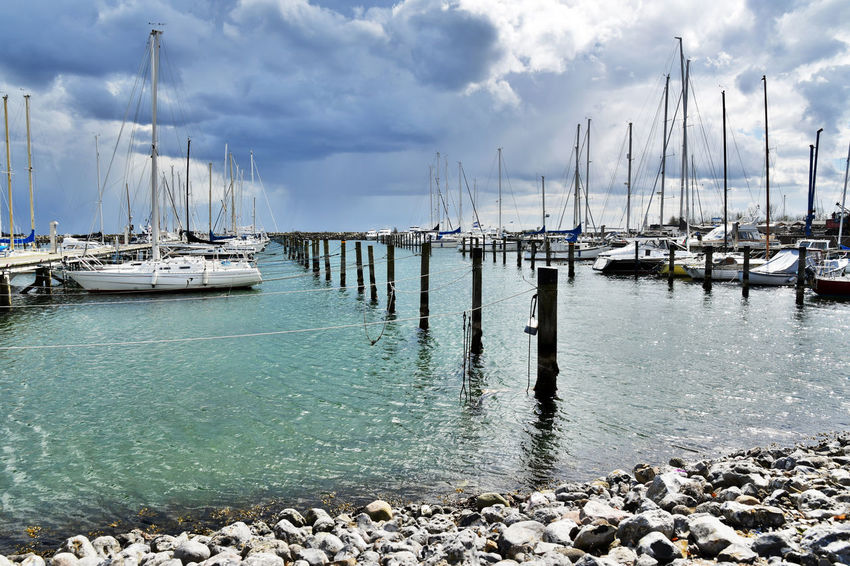 Denmark Green Color Harbour View Blue Cloud - Sky Moored Sailboat