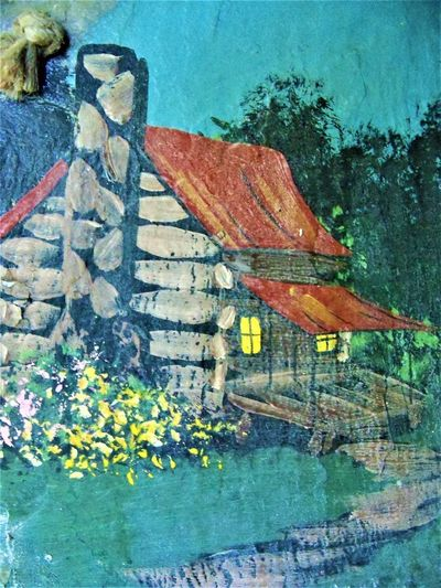 Cabin Art Art And Craft ArtWork Chimney Indiana Porch Architecture Art Building Building Exterior Built Structure Cabin Close-up Country Life Day Flower Flowering Plant High Angle View Multi Colored Nature No People Outdoors Painting Plant Slate Wall - Building Feature