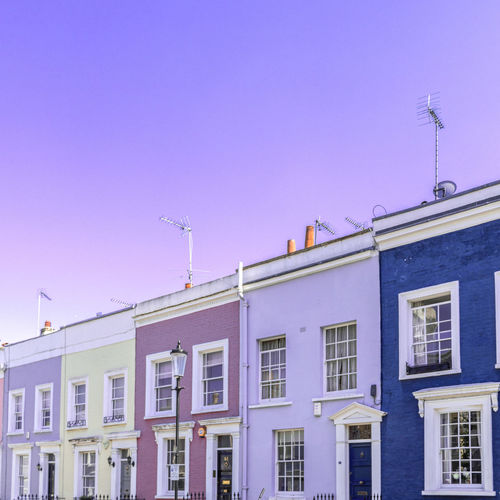 Notting Hill Houses And Windows Houses Pastel London City View  London lifestyle Ambient Blue Background Light Light Blue Old House Blue Sky Soft Minimal Minimalist Architecture City Architecture Building Exterior Built Structure Sky Antenna - Aerial Roof