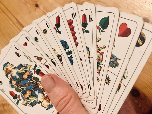 Cards Game Cards Game Oak Altenburg Skat Human Hand Hand Human Body Part One Person Leisure Activity Body Part Holding Cards Indoors  Luck Table