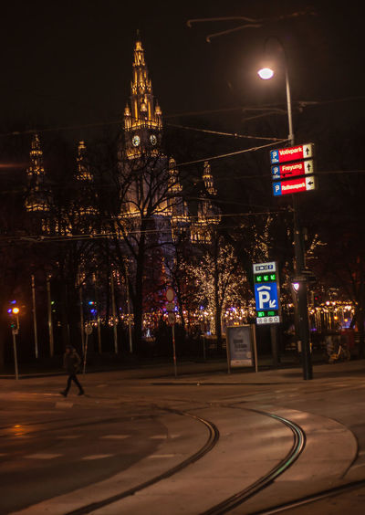 Vienna Town Hall on January night January Travel Vienna Winter Architecture Building Exterior Built Structure City Cold Illuminated Night No People Outdoors Sky Town Hall The Street Photographer - 2018 EyeEm Awards The Traveler - 2018 EyeEm Awards
