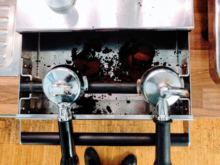 High Angle View Of Coffee Machine Handles