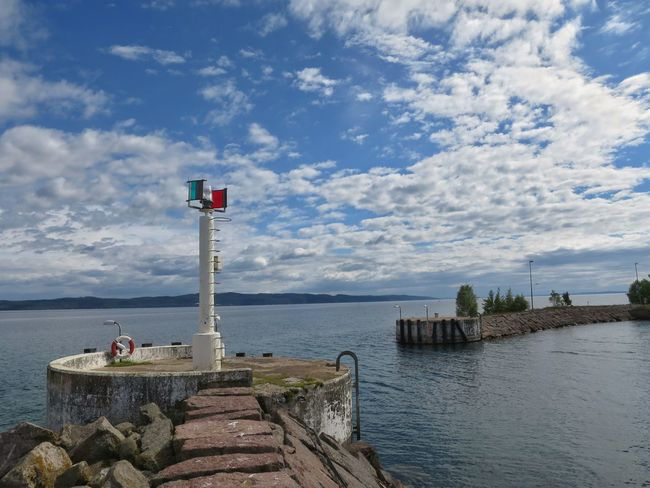Pier Harbour Maritime Lake View Lighthouse Cloud And Sky Horizon Over Water Outdoors Nature Summer